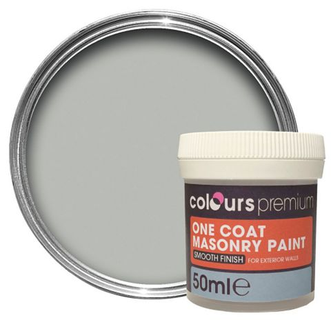 Colours Premium One Coat Storm Grey Smooth Masonry Paint 50ml Tester Pot