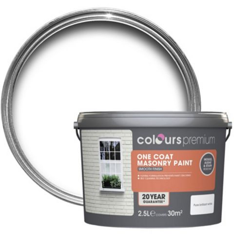 Colours Premium One Coat White Textured Masonry Paint 2.5L