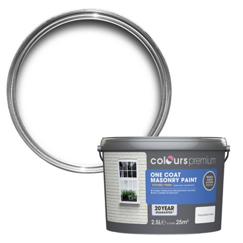 Colours Premium One Coat Pure Brilliant White Smooth Masonry Paint 2.5L