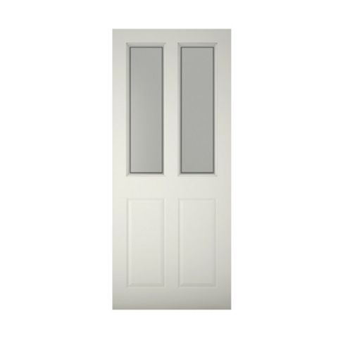 4 Panel Primed Timber Glazed External Front Door, (H)1981mm (W)838mm