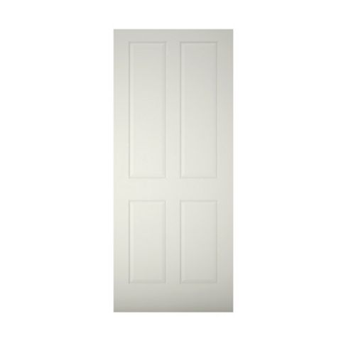 4 Panel Primed Timber External Front Door, (H)1981mm (W)838mm