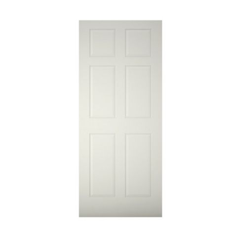 6 Panel Primed Timber External Front Door, (H)2032mm (W)813mm