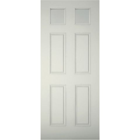 6 Panel Primed Timber Glazed External Front Door, (H)2032mm (W)813mm