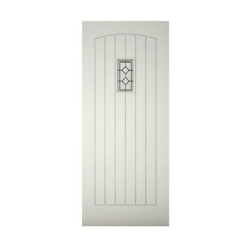 Cottage Panelled Primed Timber Glazed External Front Door, (H)1981mm (W)762mm