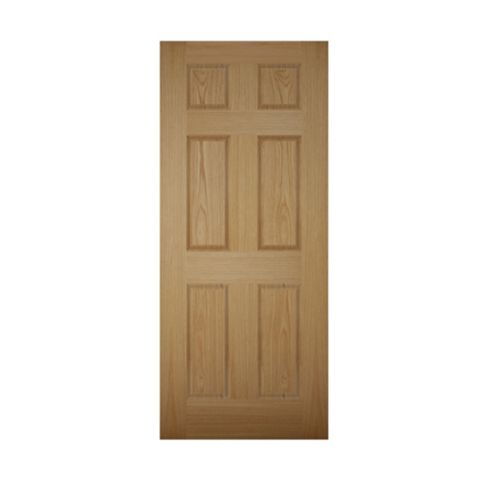 6 Panel White Oak Veneer Timber External Front Door, (H)2032mm (W)813mm