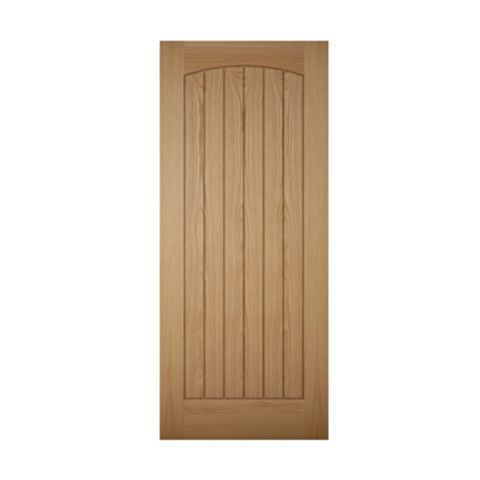 Cottage Panelled White Oak Veneer Timber External Front Door, (H)2032mm (W)813mm