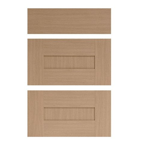 IT Kitchens Westleigh Textured Oak Effect Shaker Drawer Front (W)500mm, Set of 3