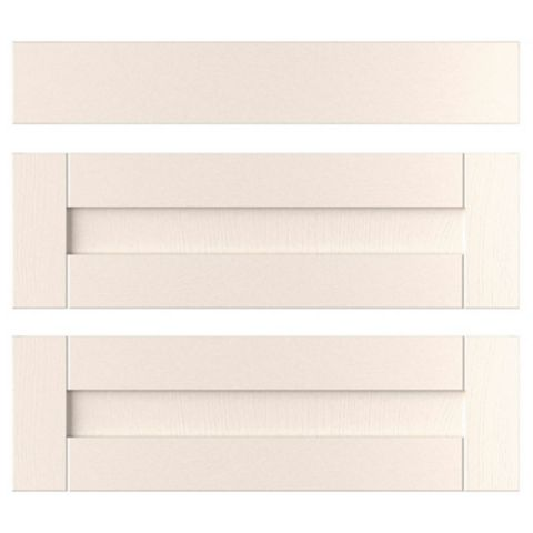 IT Kitchens Brookfield Textured Ivory Style Shaker Pan Drawer Front (W)800mm, Set of 3