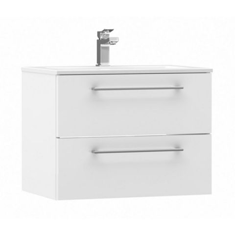 Cooke & Lewis Paolo Gloss White Wall Hung Vanity Unit & Basin