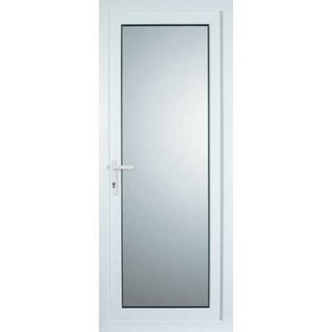White PVCu Fully Glazed Back Door & Frame Rh, (H)2055mm (W)920mm