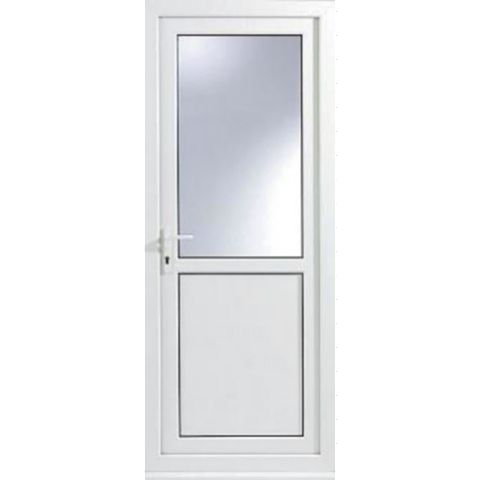 White PVCu Half Glazed Back Door & Frame Lh, (H)2055mm (W)920mm