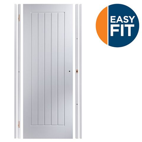 Easy Fit Panelled Pre-Painted Internal Door Kit, For Opening Sizes (W)759-771mm (H)1988-1996mm (D)35mm