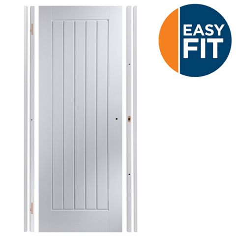 Easy Fit Panelled Pre-Painted Internal Door Kit, For Opening Sizes (W)683-695mm (H)1988-1996mm (D)35mm