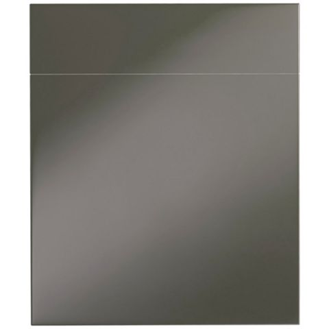 Cooke & Lewis Raffello High Gloss Anthracite Slab Drawerline Door & Drawer Front (W)600mm, Set of 1 Door & 1 Drawer Pack