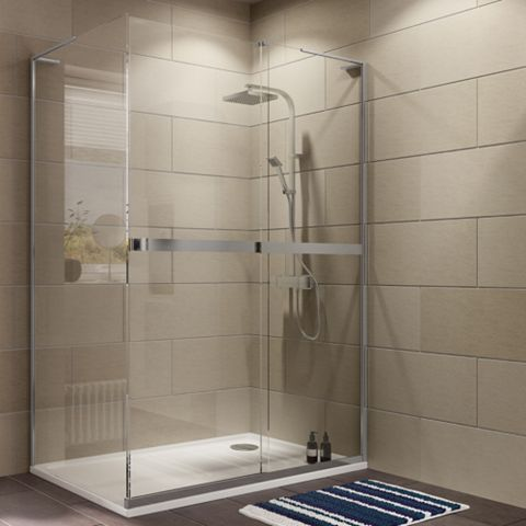 Cooke & Lewis Grandeur Rectangular RH Shower Enclosure with Single Sliding Door (W)1400mm (D)900mm