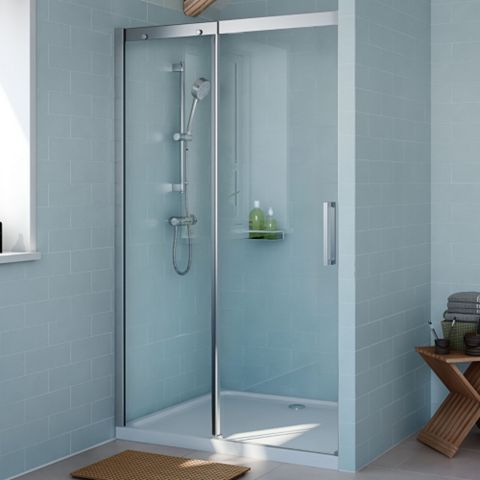 Cooke & Lewis Carmony LH Single Sliding Soft Close Shower Door (W)1200mm