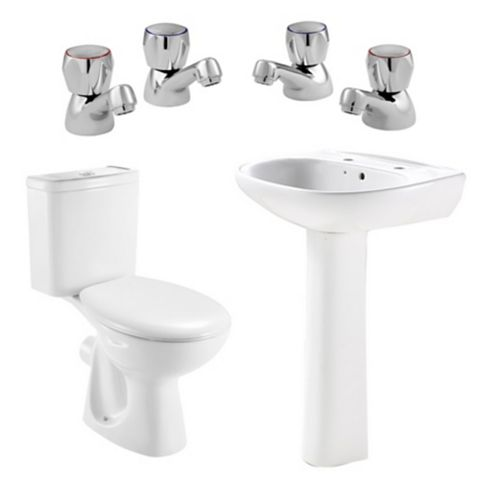 Plumbsure Truro Toilet, Basin & Tap Pack