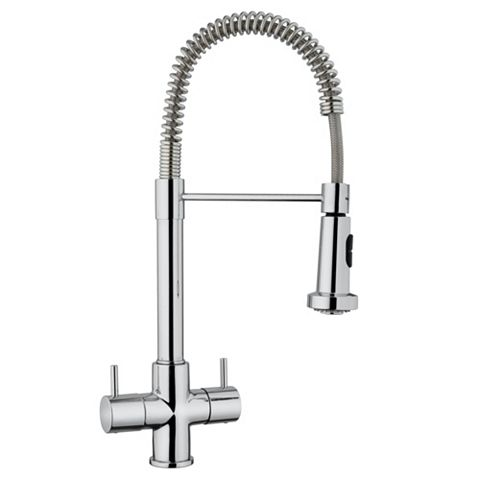 Cooke & Lewis Fiera Chrome Effect Monobloc Spring Neck Tap