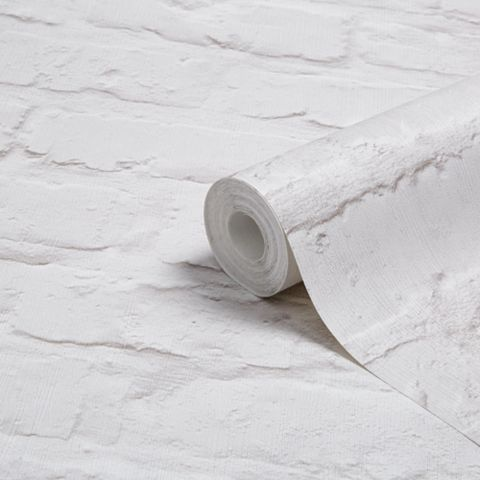 White Painted Brick Wallpaper