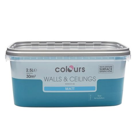 Colours Teal Temptation Matt Emulsion Paint 2.5L