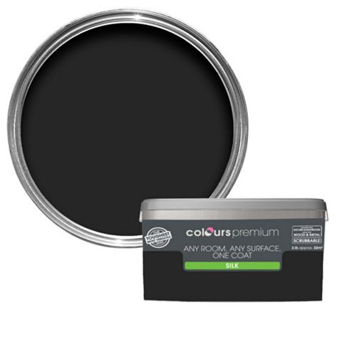Colours Premium Any Room One Coat Black Silk Emulsion Paint 2.5L