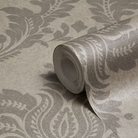Majestic Damask Grey Glitter Effect Wallpaper