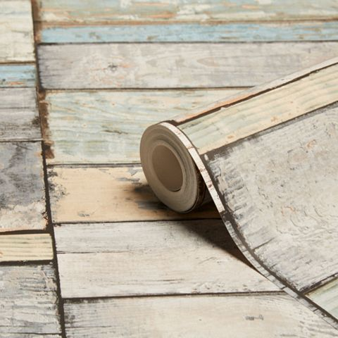 Wood Blocks Blue Stripe Wallpaper