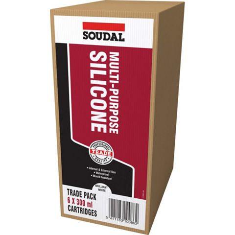 Soudal Multi-Purpose White Sealant 300 ml, Pack of 6