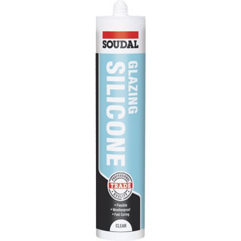 Soudal 121655 Sealing & Filling Gaps & Cracks Glazing & Frame Sealant Clear, 300ml
