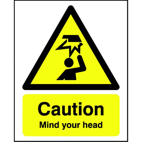 Plastic Caution Mind Your Head Sign (H)210mm