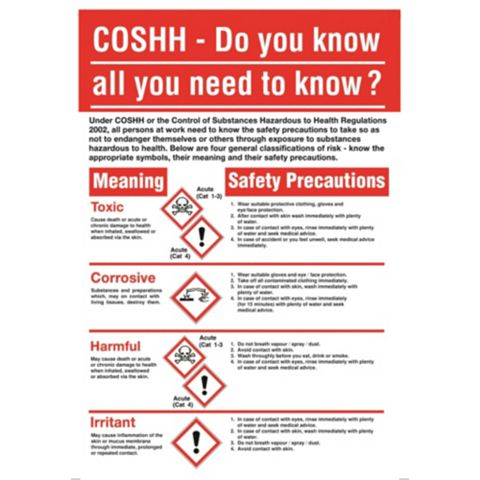 Rigid 1.2mm Polypropylene Plastic Coshh Safety Poster x 600 mm