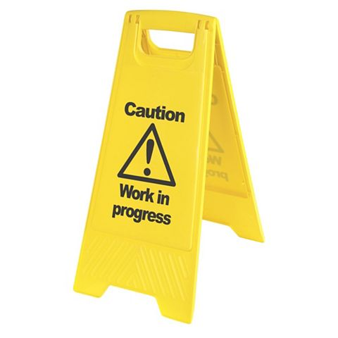 Plastic Work In Progress A-Frame Safety Sign x 680 mm