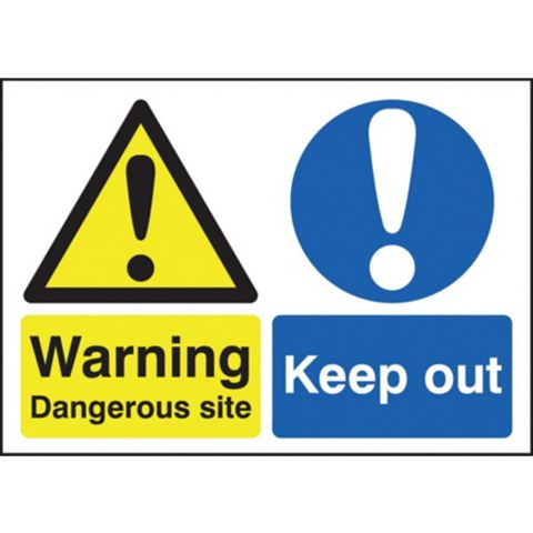 1.2mm Rigid Polypropylene Dangerous Site / Keep Out Sign x 420 mm
