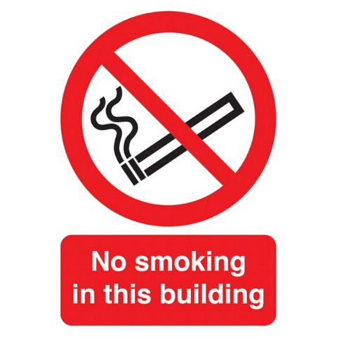 Plastic No Smoking In This Building Sign (H)210mm