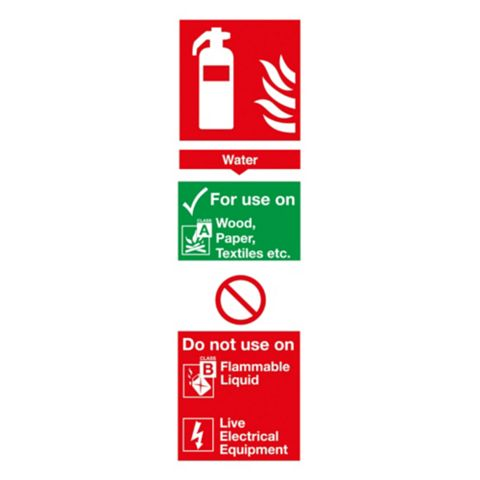 Plastic Water Extinguisher Id Sign (H)280mm (W)90mm