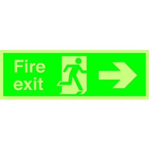 Durable Plastic Exit Right Sign (H)150mm (W)450mm