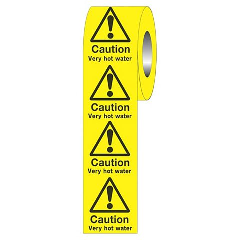 Caution Very Hot Water Adhesive Labels 50 mm x 50 mm
