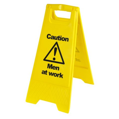 Plastic Caution Men At Work A-Frame Safety Sign x 600 mm