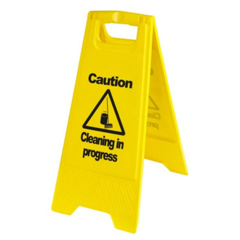 Plastic Cleaning In Progress A-Frame Safety Sign x 600 mm