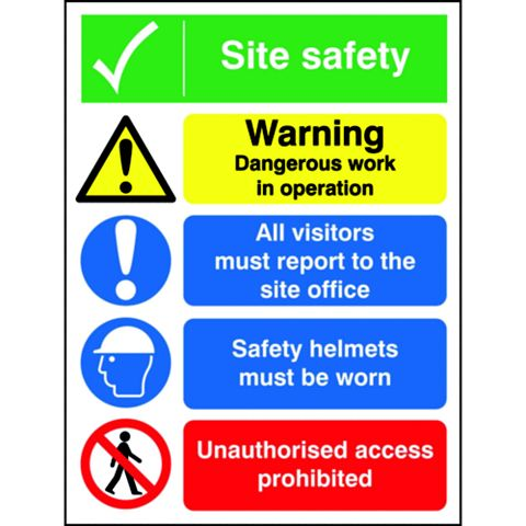 Polypropylene Site Safety Board Sign (H)400mm
