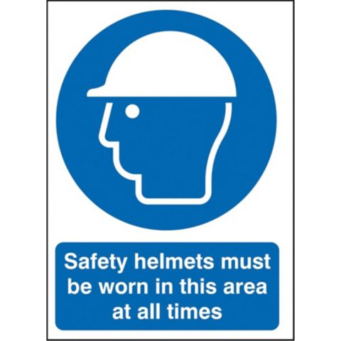 1.2mm Rigid Polypropylene Safety Helmets Must Be Worn Sign 297 mm x 420 mm