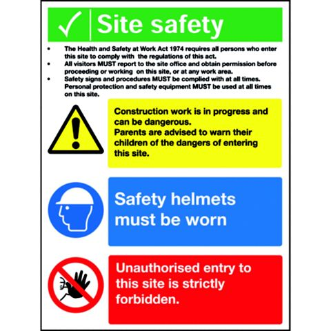 Plastic Site Safety Sign (H)400mm