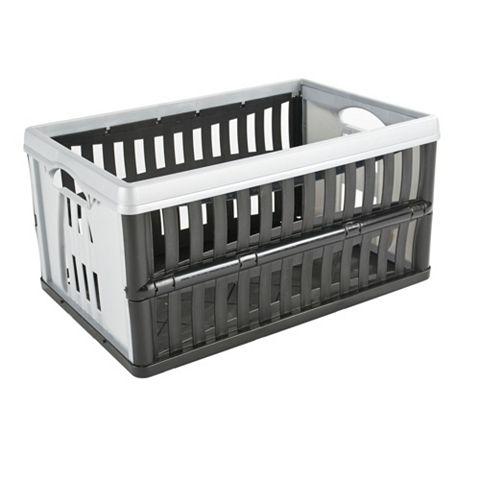 Tontarelli Folding Crate Black & Grey 60L Plastic Folding Crate