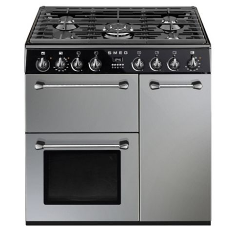 Smeg Kitchen Dual Fuel Cooker, Silver Steel & Glass