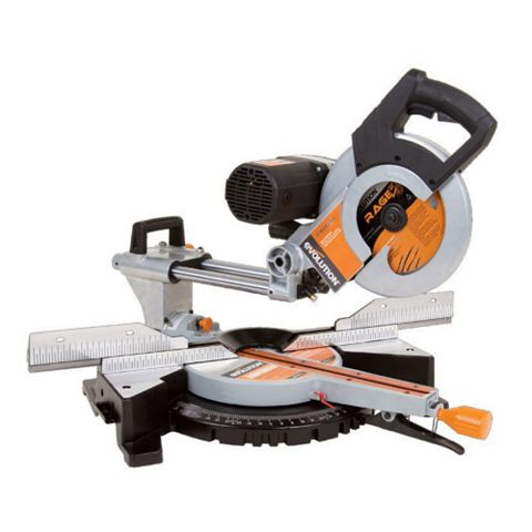 Evolution 255mm Double Bevel Sliding Compound Mitre Saw RAGE3DB