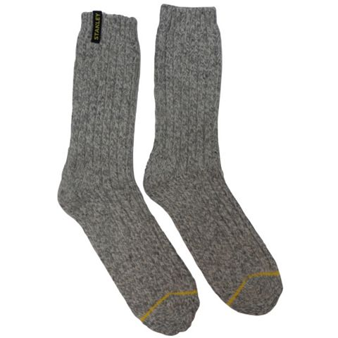 Stanley 2 Pairs Of Grey Extra Warm Work Socks Size 6-8