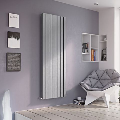 Ximax Vulkan Square Vertical Radiator Silver, (H)600 mm (W)885mm