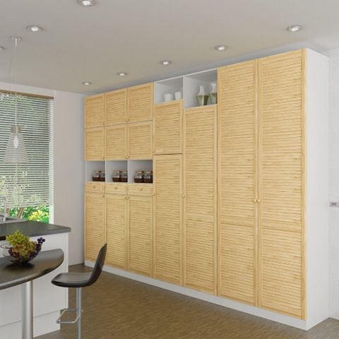 Closed Louvre Pine Internal Door, (H)1829mm (W)381mm