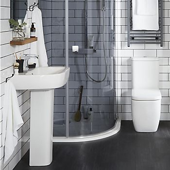 Bathroom with dark grey flooring