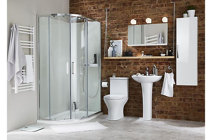 Bathroom with wall-mounted storage